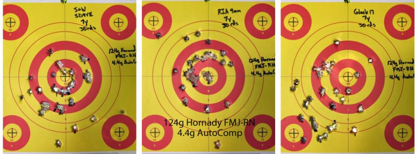 124g Hornady FMJ-RN & 4.4g AutoComp Pistol Test