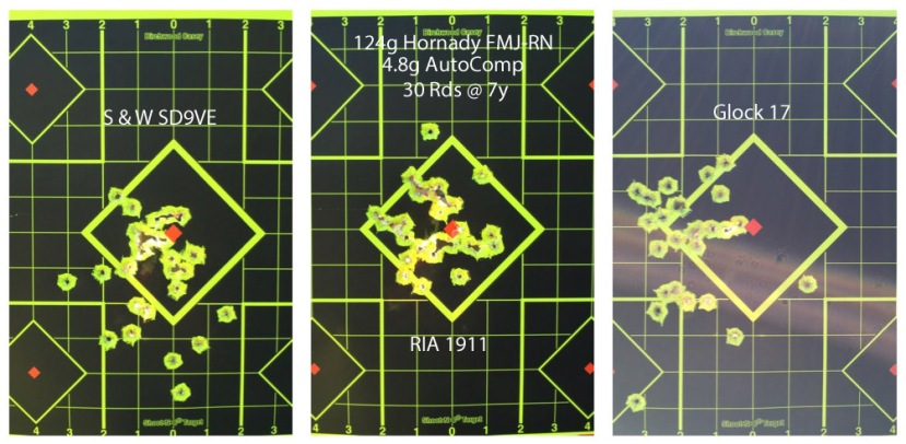 124g Hornady FMJ-RN & 4.8g AutoComp Pistol Test
